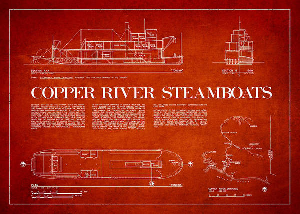 Copper River Poster featuring the drawing Copper River Steamboats Blueprint by Aged Pixel