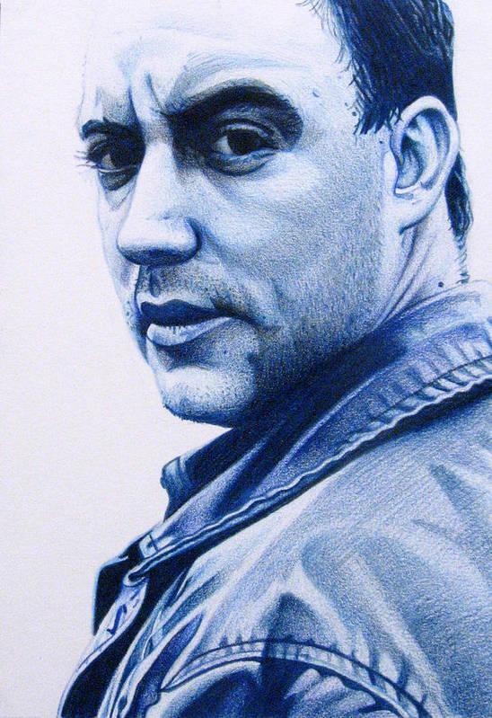 Dave Matthews Poster featuring the drawing Dave Matthews by Joshua Morton