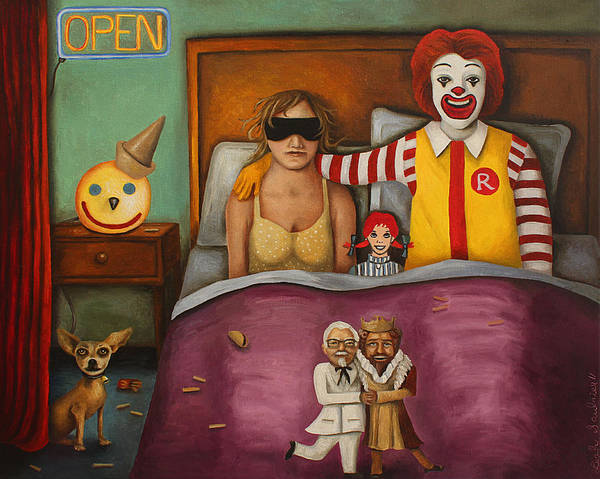 Mcdonald's Poster featuring the painting Fast Food Nightmare by Leah Saulnier The Painting Maniac
