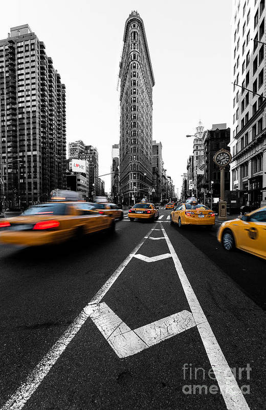5th Avenue Clock Poster featuring the photograph Flatiron Building Nyc by John Farnan