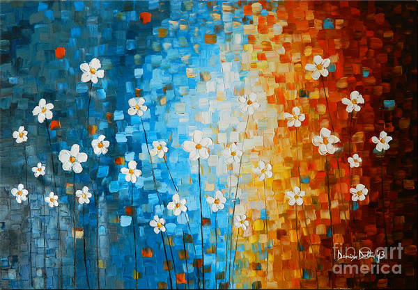 Art Poster featuring the painting Flowers After Rain by Denisa Laura Doltu
