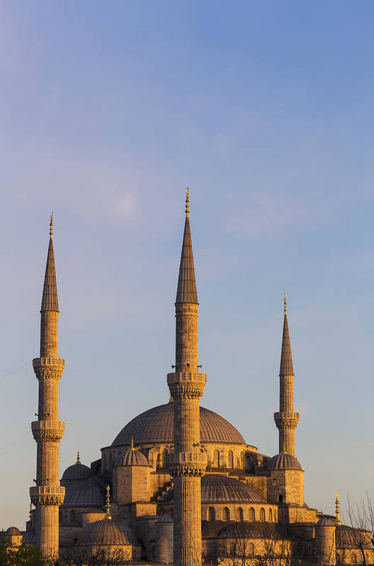 Day Poster featuring the photograph Islamic Mosque At Sunset Istanbul by Mark Thomas