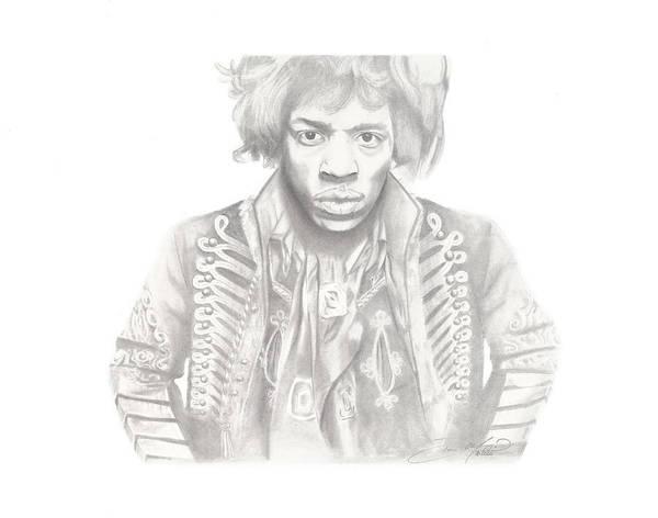 Jimi Hendrix Poster featuring the drawing Jimi Hendrix by Don Medina