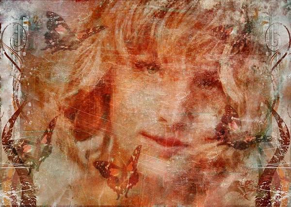 Girl Poster featuring the digital art Loved By Butterflies by Gun Legler