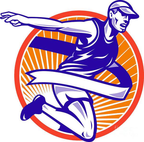 Marathon Poster featuring the digital art Male Marathon Runner Running Retro Woodcut by Aloysius Patrimonio