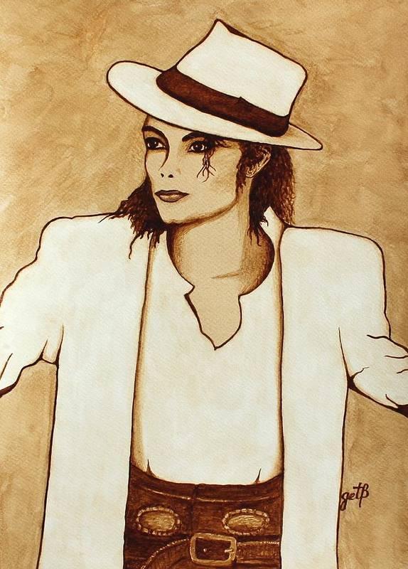 Michael Jackson Singer Coffee Painting Poster featuring the painting Michael Jackson Original Coffee Painting by Georgeta Blanaru