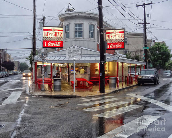 Philadelphia Italian Market Poster featuring the photograph Pat's Steaks by Jack Paolini