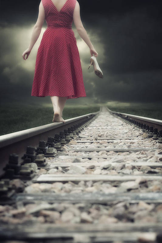 Woman Poster featuring the photograph Railway Tracks by Joana Kruse