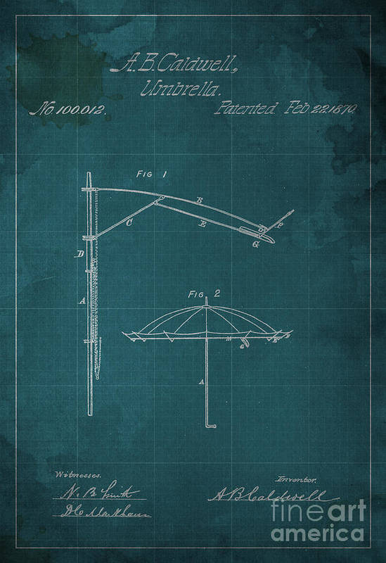 Umbrella Poster featuring the mixed media Umbrella Patent - A.b. Caldwell by Pablo Franchi