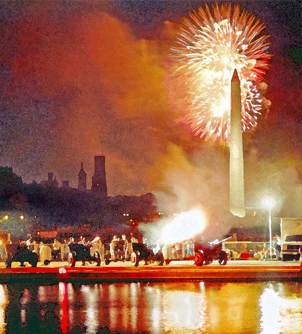 Washington D.c. Poster featuring the digital art 1812 Overture Cannon Flash Washington by Steven Barrows