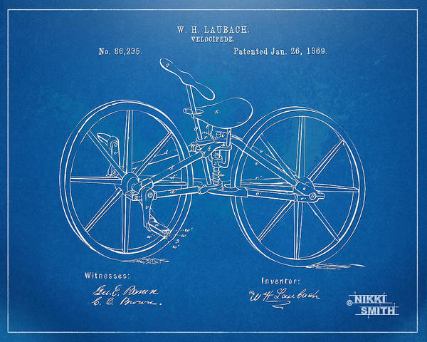 Bicycle Poster featuring the drawing 1869 Velocipede Bicycle Patent Blueprint by Nikki Marie Smith
