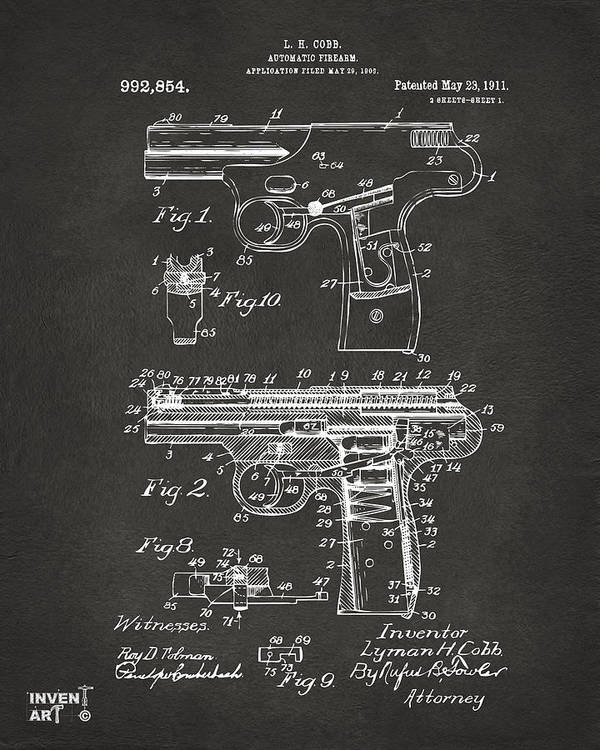 Police Gun Poster featuring the drawing 1911 Automatic Firearm Patent Artwork - Gray by Nikki Marie Smith
