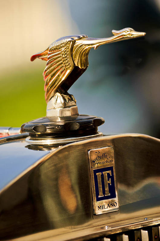1925 Isotta Fraschini Tipo 8a S Corsica Boattail Speedster Poster featuring the photograph 1925 Isotta Fraschini Tipo 8a S Corsica Boattail Speedster Hood Ornament by Jill Reger
