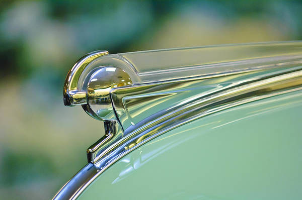 1940 Oldsmobile Convertible Series 90 Convertible Poster featuring the photograph 1940 Oldsmobile Hood Ornament by Jill Reger