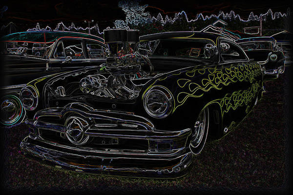 Chopped Poster featuring the photograph 1950 Ford Coupe Neon Glow by Steve McKinzie