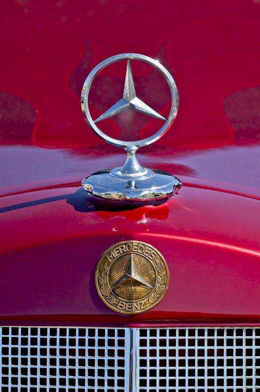 1953 Mercedes Benz Poster featuring the photograph 1953 Mercedes Benz Hood Ornament by Jill Reger