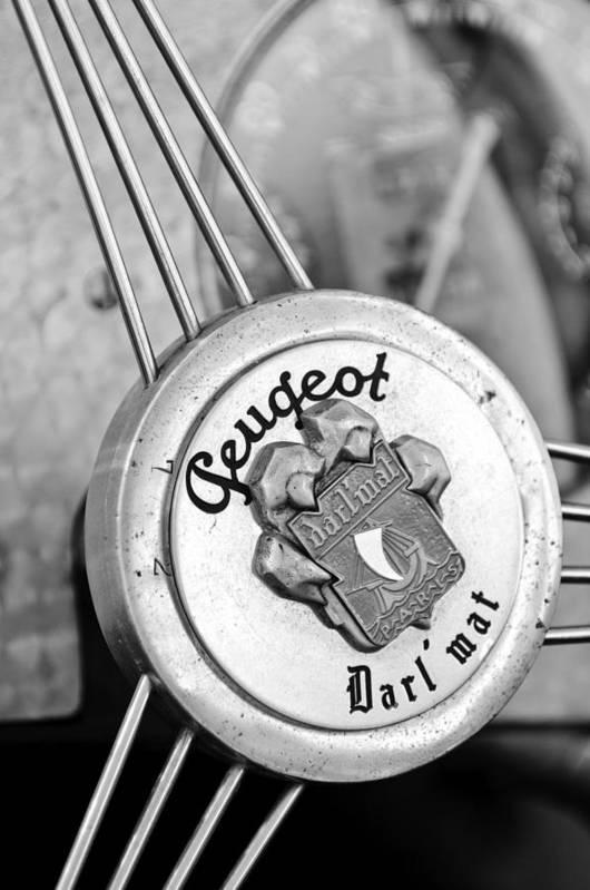 1937 Peugeot 402 Darl'mat Legere Special Sport Roadster Recreation Steering Wheel Emblem Poster featuring the photograph 1937 Peugeot 402 Darl'mat Legere Special Sport Roadster Recreation Steering Wheel Emblem by Jill Reger