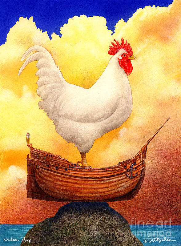 Will Bullas Poster featuring the painting Chicken Ship... by Will Bullas