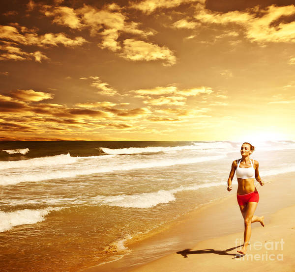 Active Poster featuring the photograph Healthy Woman Running On The Beach by Anna Omelchenko
