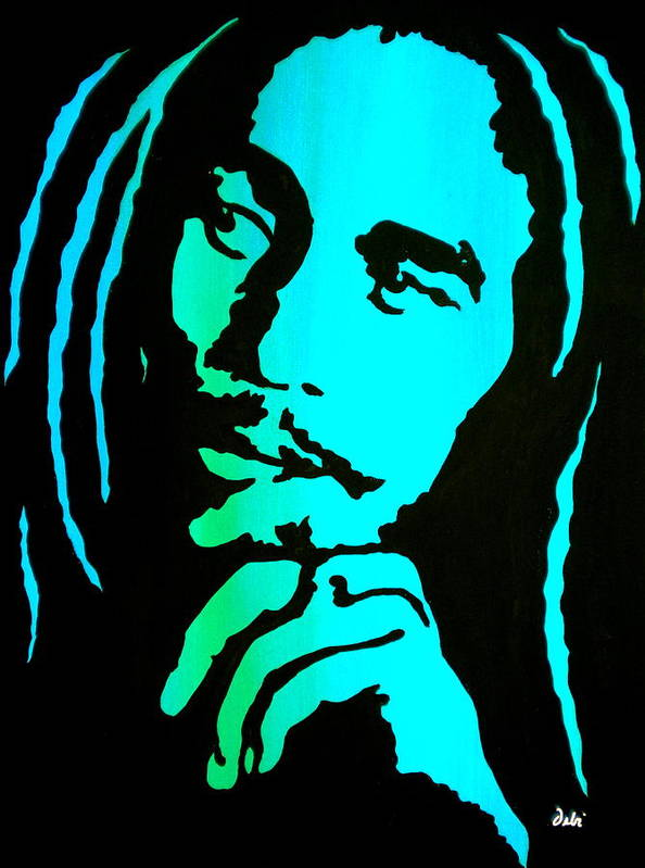 Bob Marley Poster featuring the painting Marley by Debi Starr