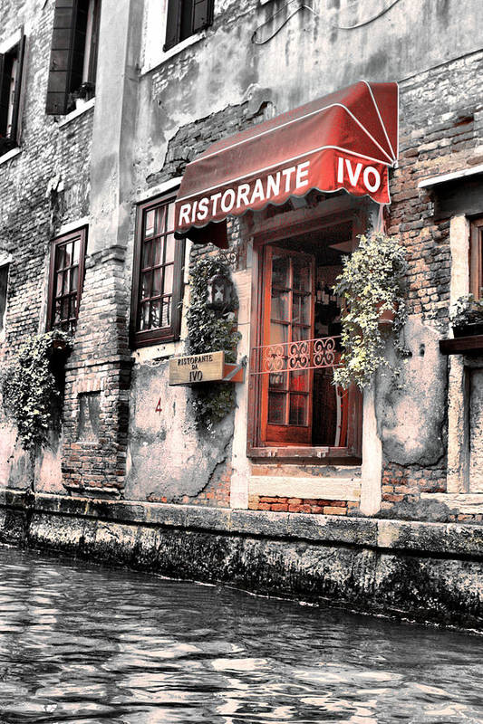 Water Poster featuring the digital art Ristorante On The Canal by Greg Sharpe