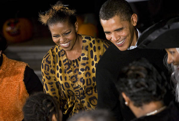 Barack Obama Poster featuring the photograph The President And First Lady by JP Tripp