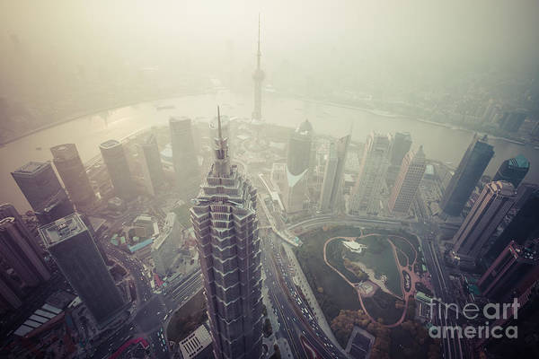 Carbon Poster featuring the photograph Shanghai Pudong Skyline by Fototrav Print