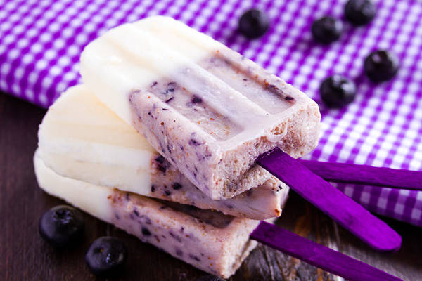 Background Poster featuring the photograph Vanilla And Blueberry Popsicles by Teri Virbickis