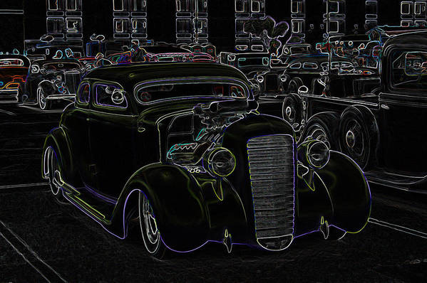 Coupe Poster featuring the photograph 35 Ford Coupe Neon Glow by Steve McKinzie