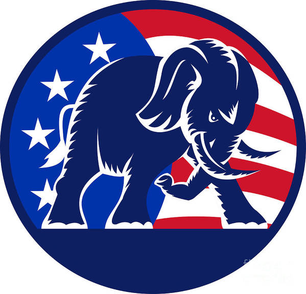 Elephant Poster featuring the digital art Republican Elephant Mascot Usa Flag by Aloysius Patrimonio