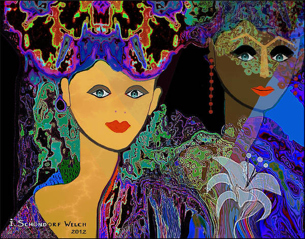 Woman Poster featuring the painting 509 - The Colours Of A Summer Night B . by Irmgard Schoendorf Welch
