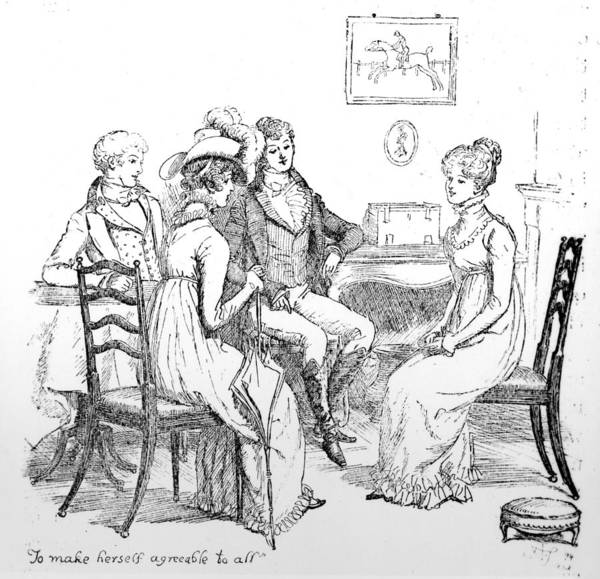To Make Herself Agreeable To All; Illustration; Pride And Prejudice; Jane Austen; Edition; Illustrated; Elizabeth Bennet; Bennett; Georgiana Darcy; Conversing; First Meeting; Conversation; Mr; Darcy; Darcy's; Sister; Mr; Bingley; Lambton; Inn; Interior; Talking; Georgian; Regency; Costume Poster featuring the drawing Scene From Pride And Prejudice By Jane Austen by Hugh Thomson