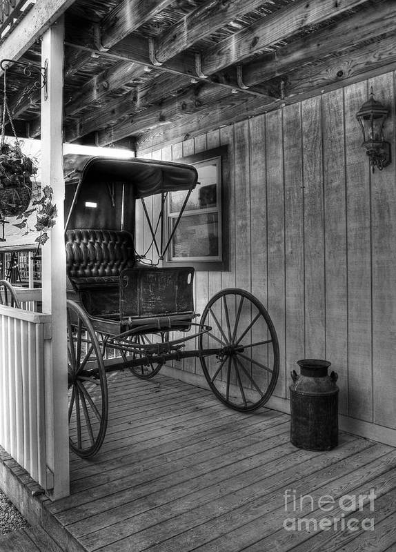 Buggy Poster featuring the photograph A Buggy On A Porch Bw by Mel Steinhauer
