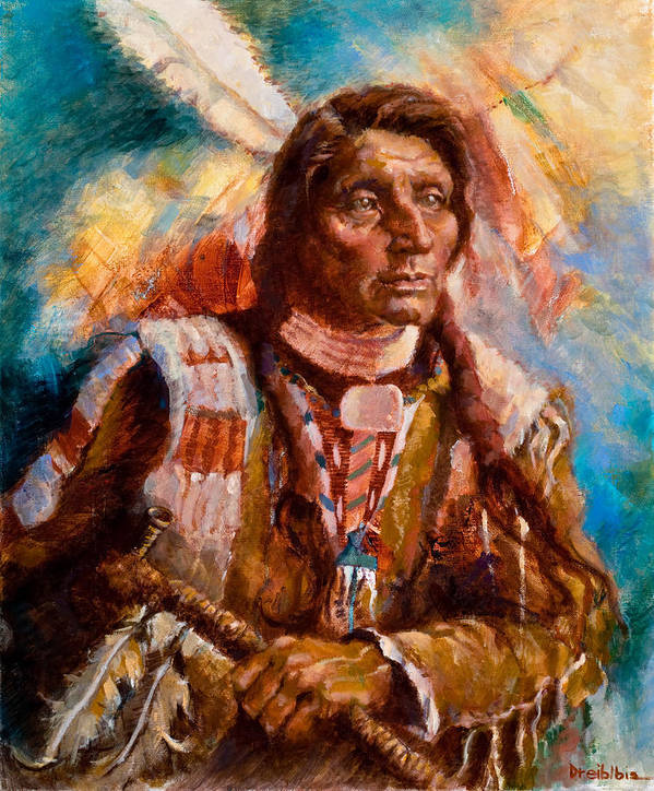 Native American Poster featuring the painting A Man Of Peace by Ellen Dreibelbis