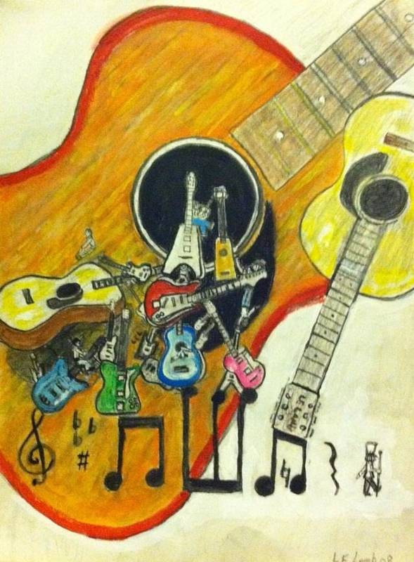 Guitar Poster featuring the drawing Abstract Guitars by Larry Lamb