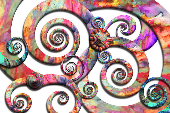 Abstract Poster featuring the digital art Abstract - Spirals - Wonderland by Mike Savad