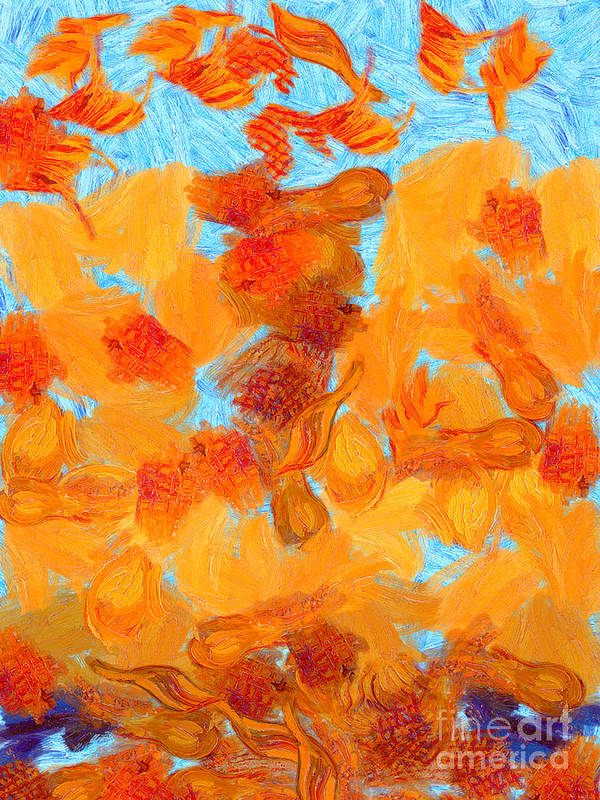 Van Gogh Poster featuring the painting Abstract Summer by Pixel Chimp