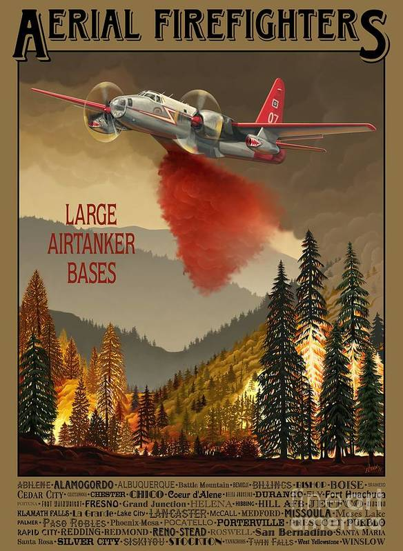 Airtanker Poster featuring the painting Aerial Firefighters Large Airtanker Bases by Airtanker Art