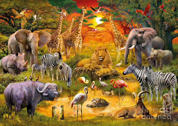 Animals Poster featuring the digital art African Harmony by Jan Patrik Krasny