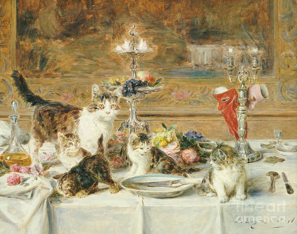 Cat Poster featuring the painting After Dinner Guests by Louis Eugene Lambert