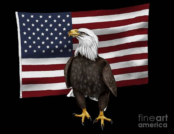 American Poster featuring the digital art American Eagle by Karen Sheltrown