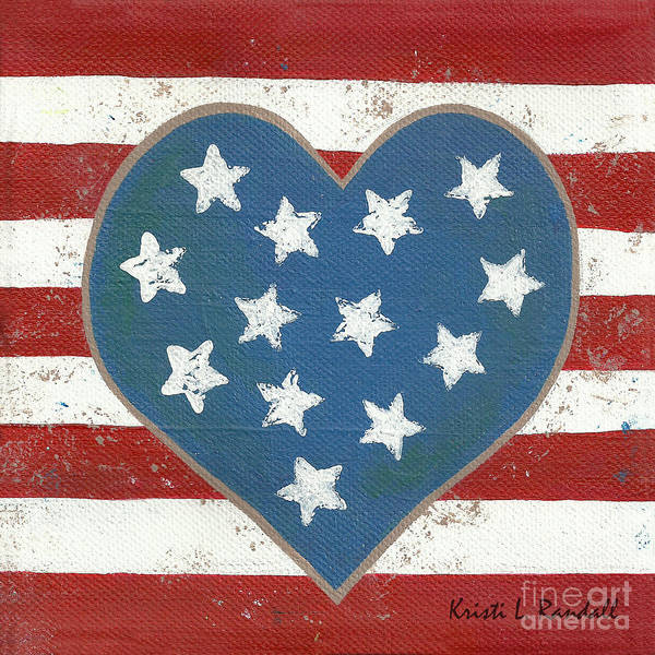 American Flag Art Poster featuring the painting American Love by Kristi L Randall
