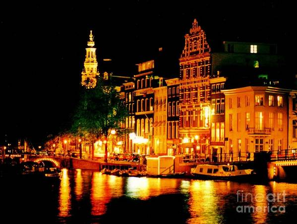 Amsterdam At Night Four Poster featuring the photograph Amsterdam At Night Four by John Malone