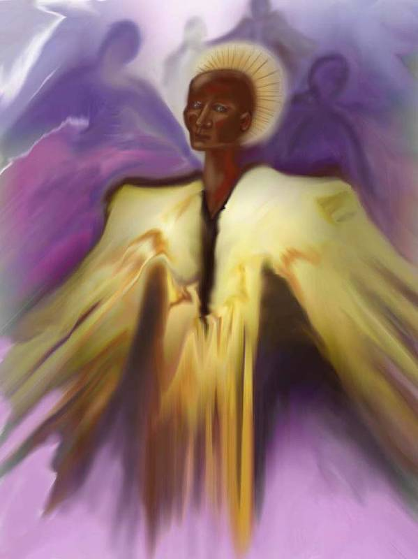 Angel Poster featuring the painting Angel And Guides by Linda Marcille