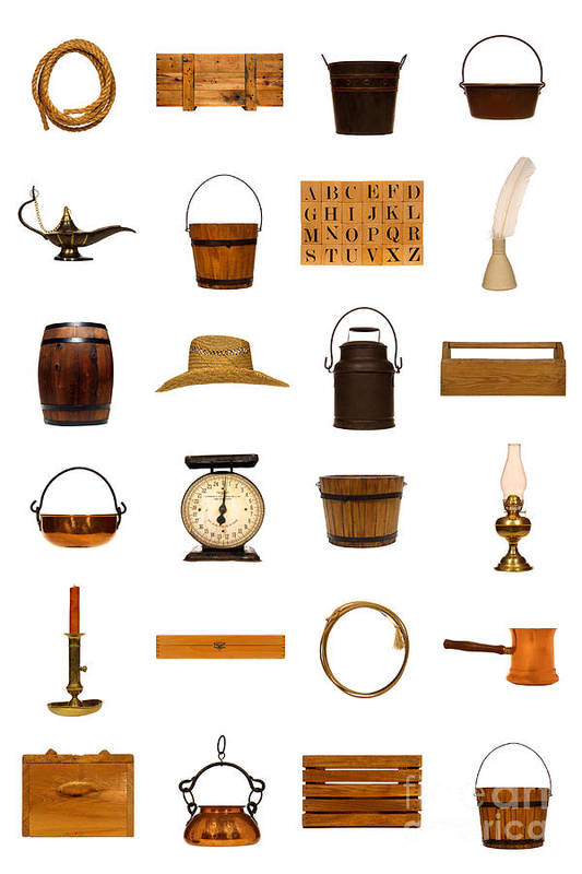Objects Poster featuring the photograph Antique Objects Collection by Olivier Le Queinec