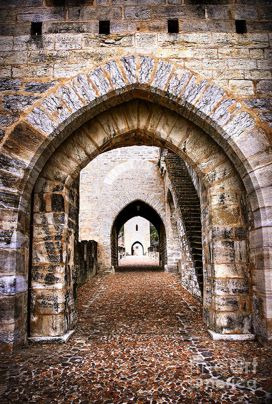 Cahors Poster featuring the photograph Arches Of Valentre Bridge In Cahors France by Elena Elisseeva