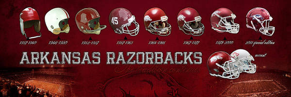 Arkansas Poster featuring the photograph Arkansas Razorbacks Football Panorama by Retro Images Archive