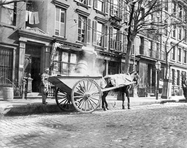 Unknown Poster featuring the digital art Ash Cart New York City 1896 by Unknown