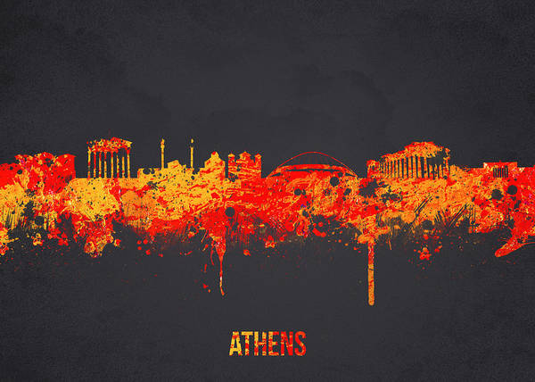 Architecture Poster featuring the digital art Athens Greece by Aged Pixel