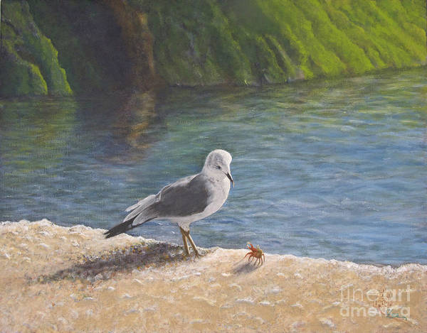 Sea Gull Poster featuring the painting Back Off by Cindy Lee Longhini